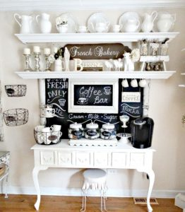 All White Kitchen Coffee Bar With Chalkboard