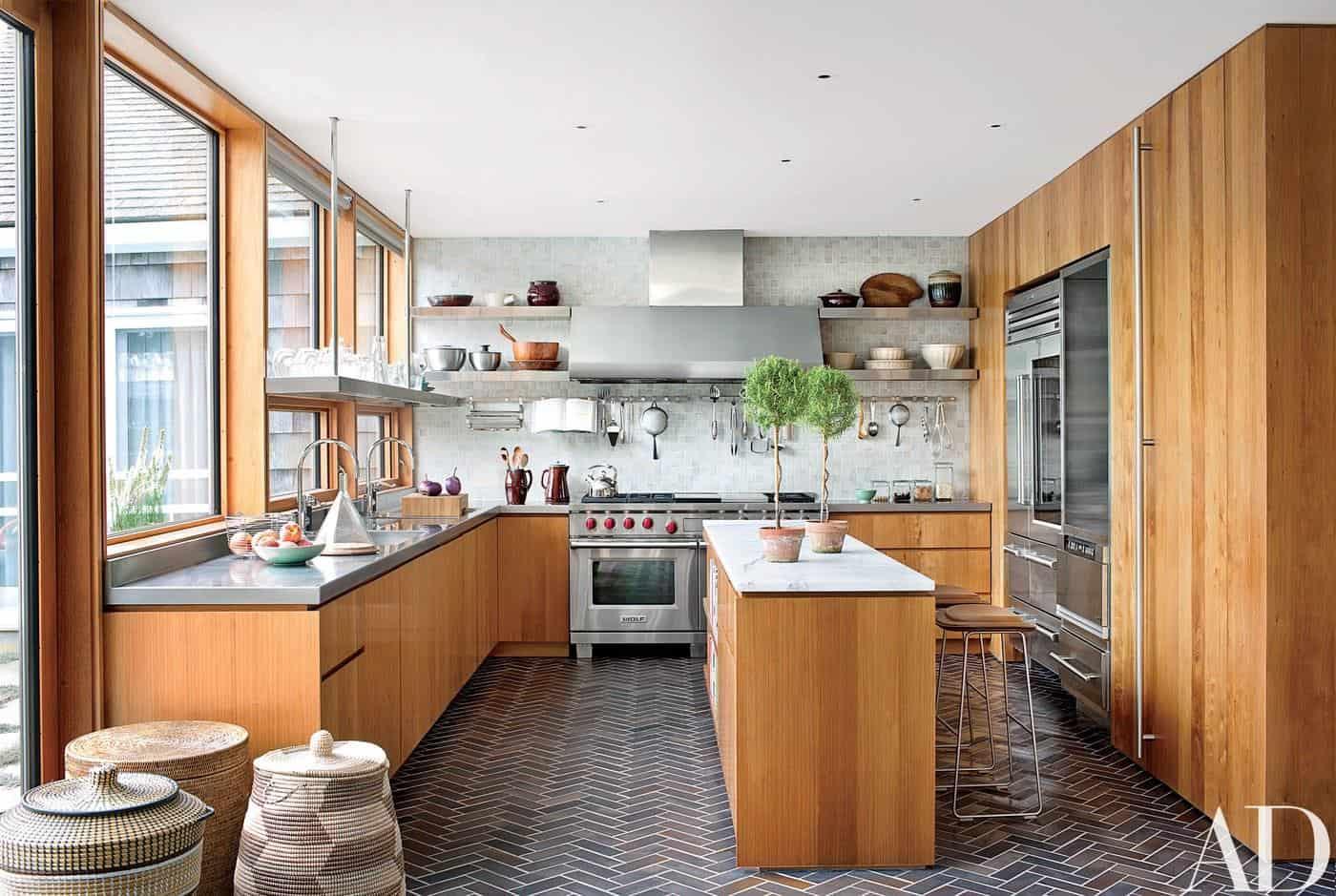 Open Kitchen Shelving Ideas - Sagaponack New York Architecturaldigest Kitchen