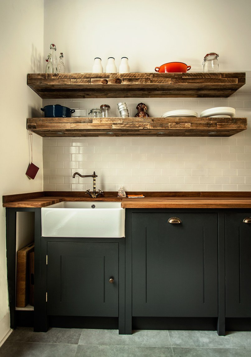 rustic wood slab countertops