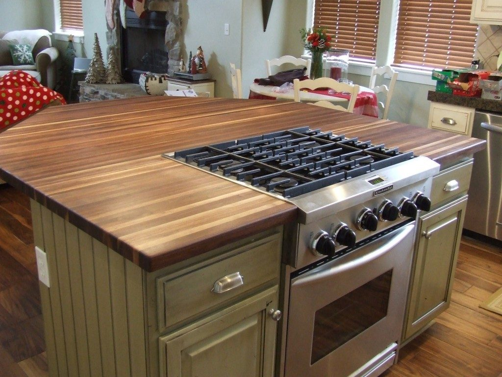 rustic wood slab countertops