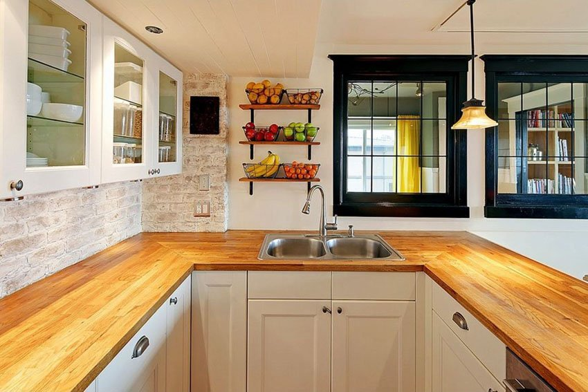 Kitchen Cabinet With Butcher Block