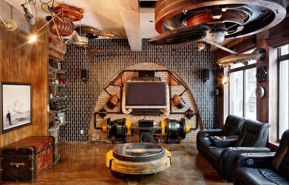 Steampunk bedroom design ideas furniture wallpaper and for Steampunk living room ideas