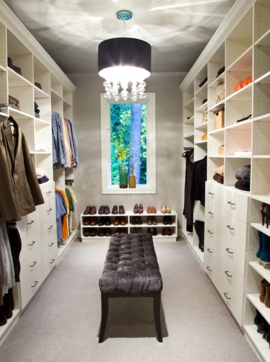 Walk In Closet With Suede Island Bench