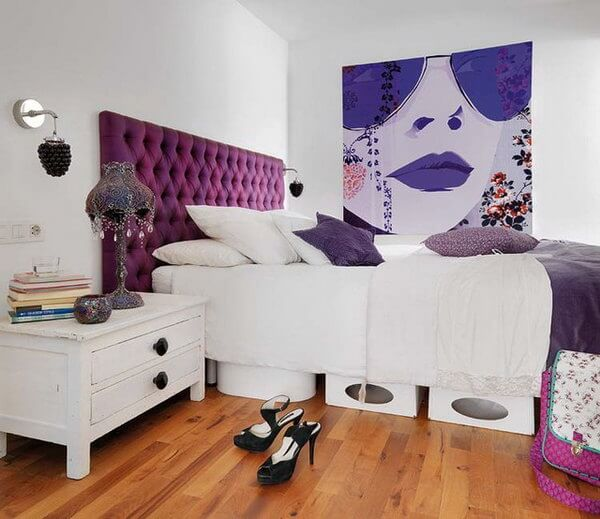 Pop colored purple bedroom