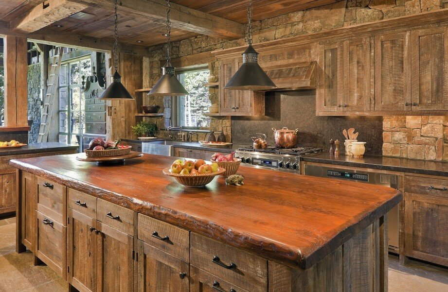 Modern Kitchen With Strong Wood Surface Area Counter Top