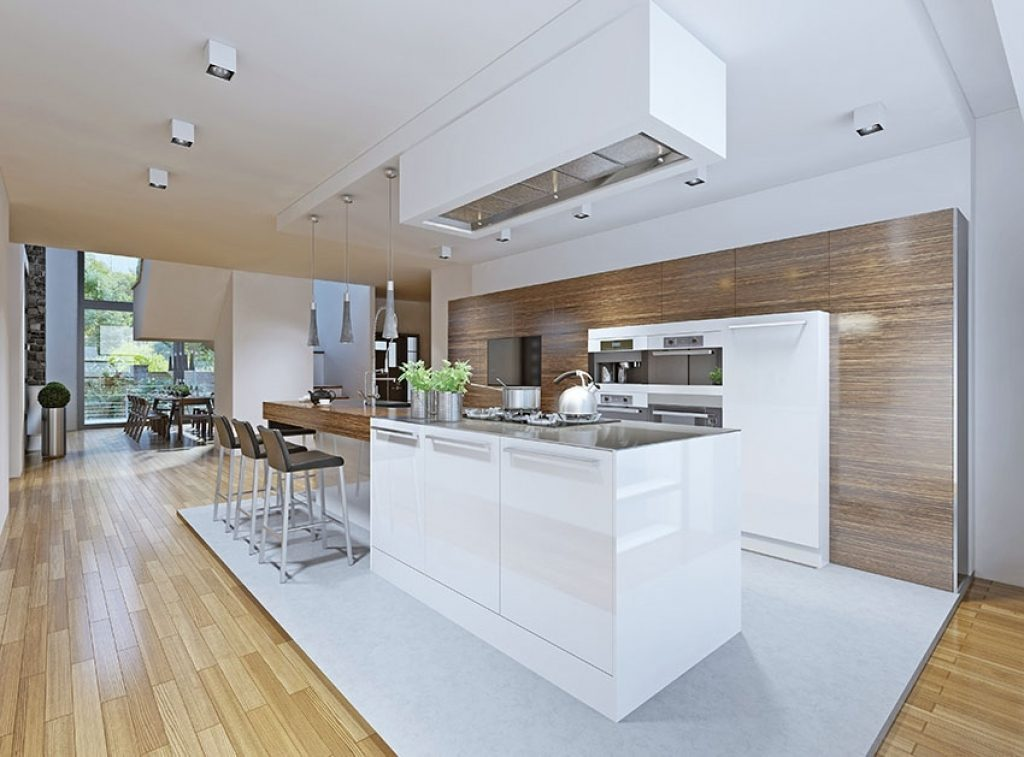 Futuristic One Wall Kitchen Idea With Invisible Cabinets