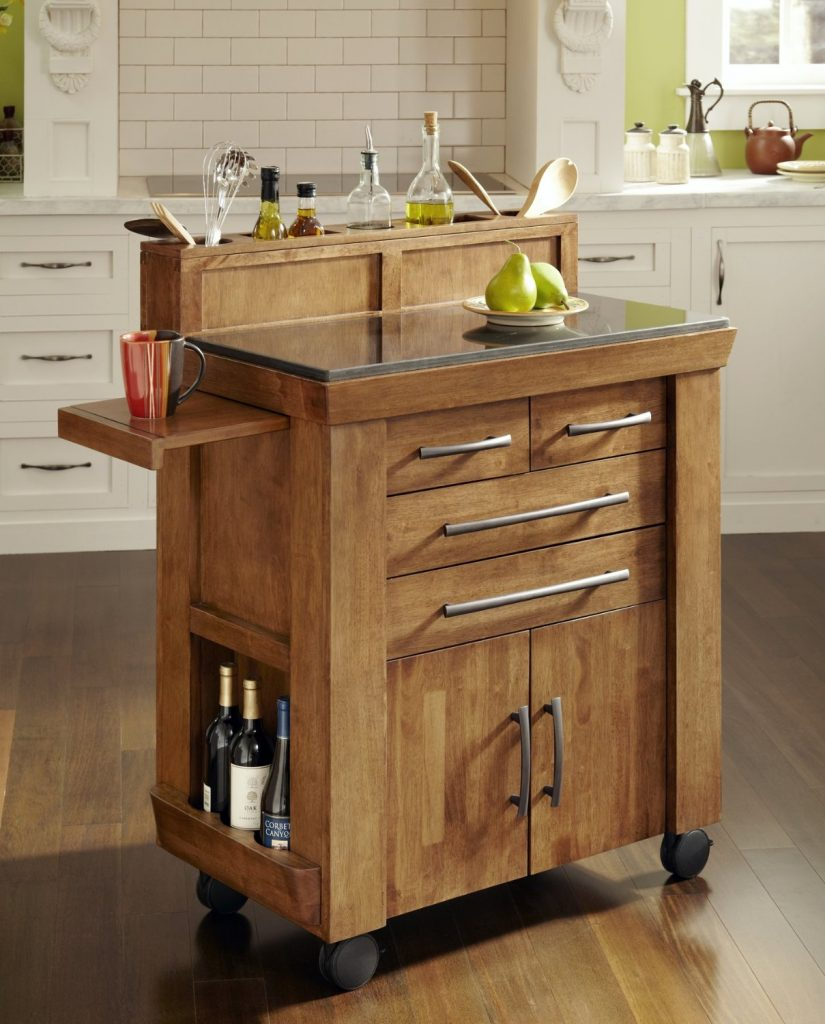 Custom Portable Kitchen Island Made Of Reclaimed Wood
