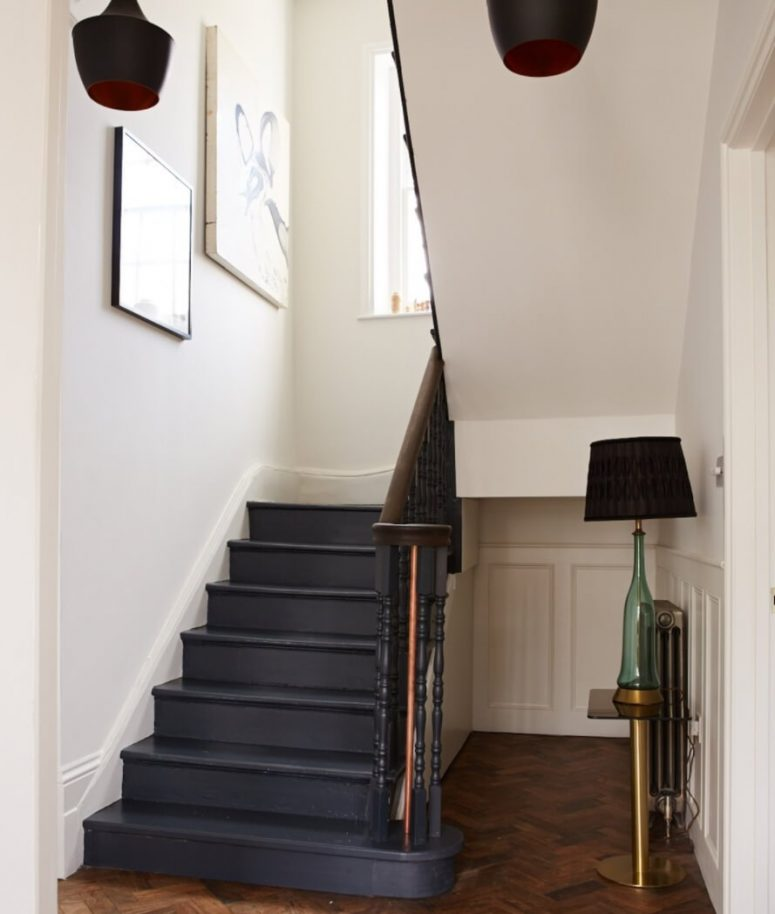 Beau Dark Painted Staircase Ideas