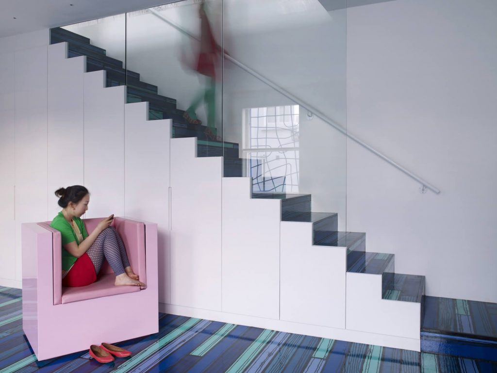 Blue covered staircase