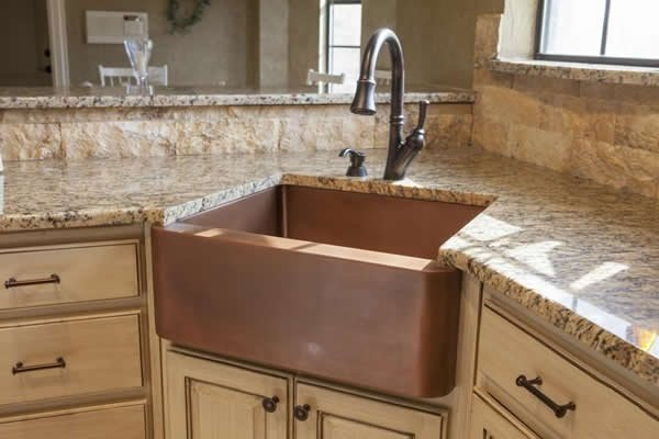 granite coated kitchen countertop with Corner Kitchen Sink image
