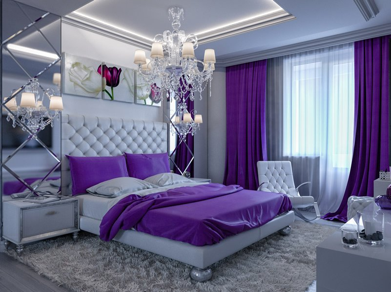 Purple Lilac Bedroom Ideas Part - 32: High Head Board Purple Bedroom