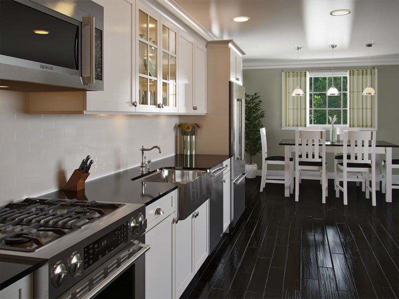 A Modern One Wall Kitchen Style With Dark Wood Flooring