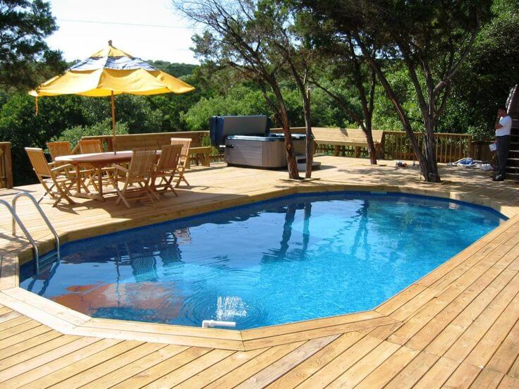 Lagoon Swimming Pool Designs. 1. Modern Home With Swimming Pool And Also  Timber Deck