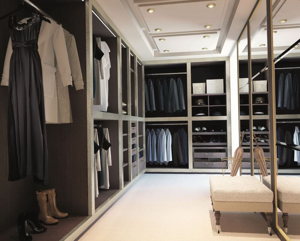 Large Walk In Closet With Clothing Bench