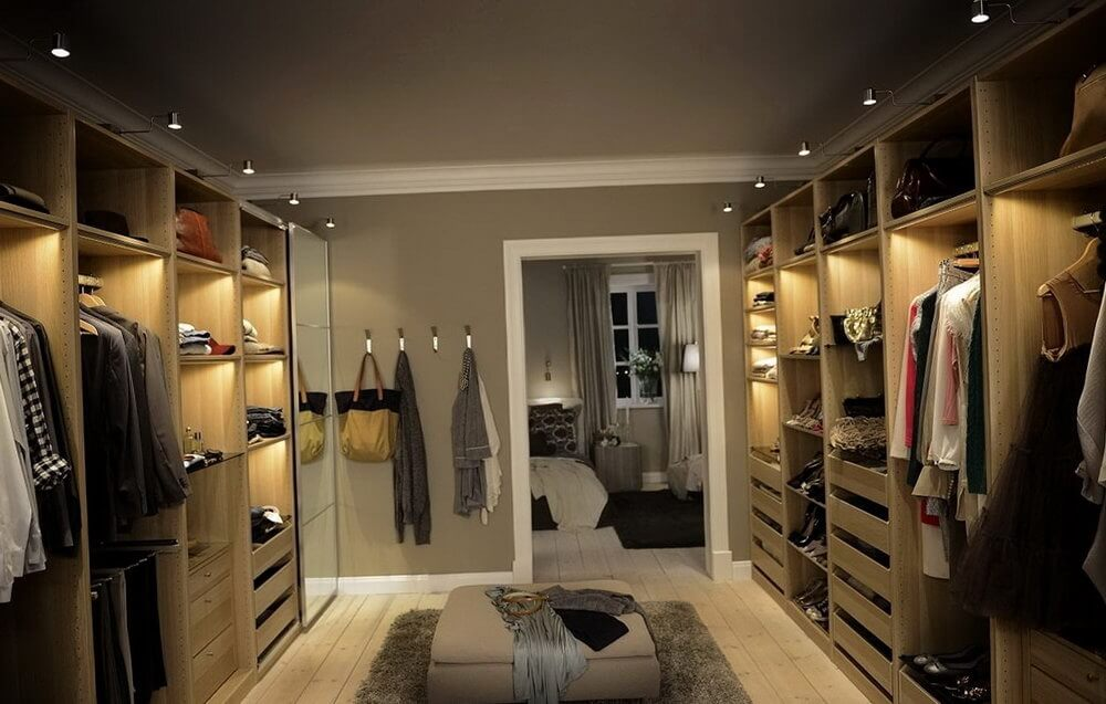 Wood Walk In Closet With Cool Lighting