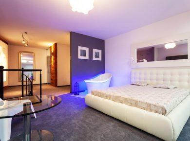modern purple bedroom design for adults