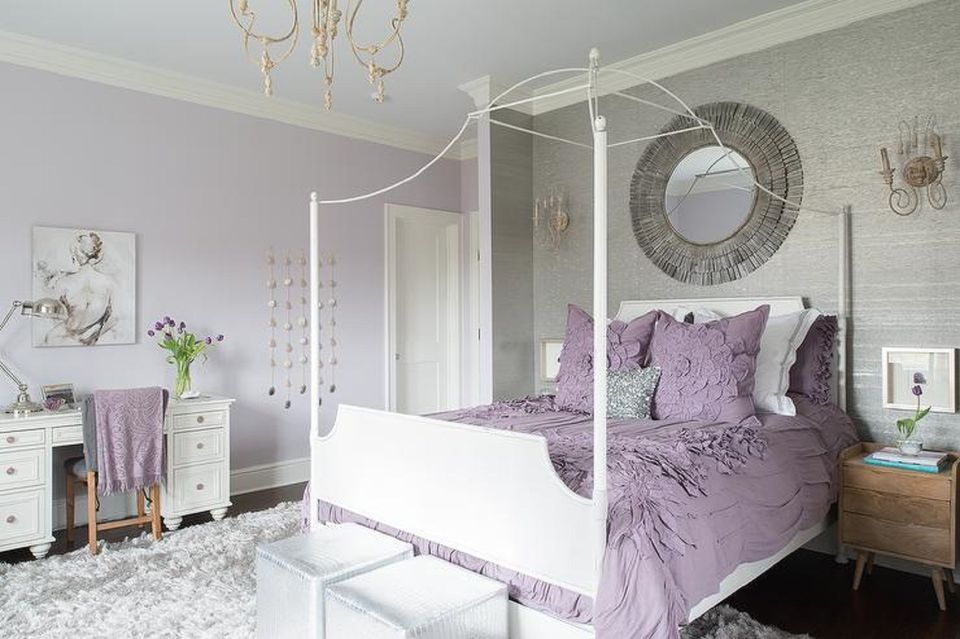 purple bedroom design for couple
