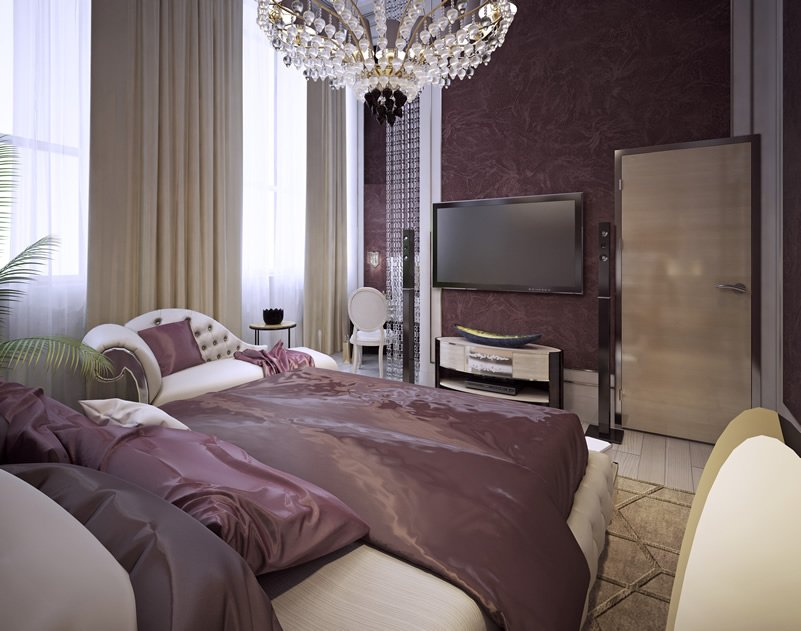 Purple Bedroom Design For Gentlemen