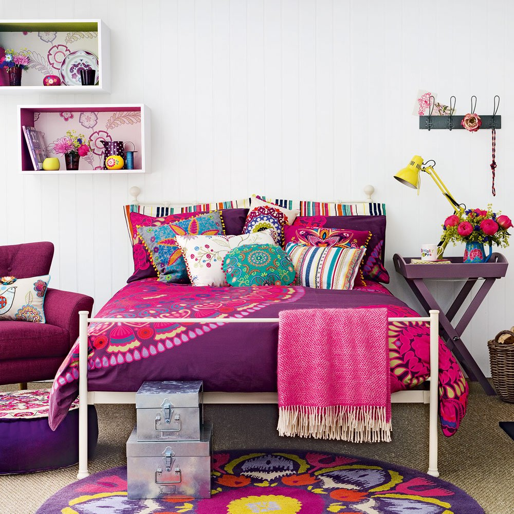 purple bedroom design for teenage girl