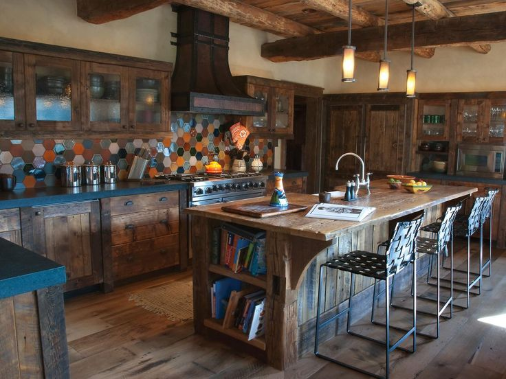 Diverse Kitchen With Recovered Wood Cabinets And Island