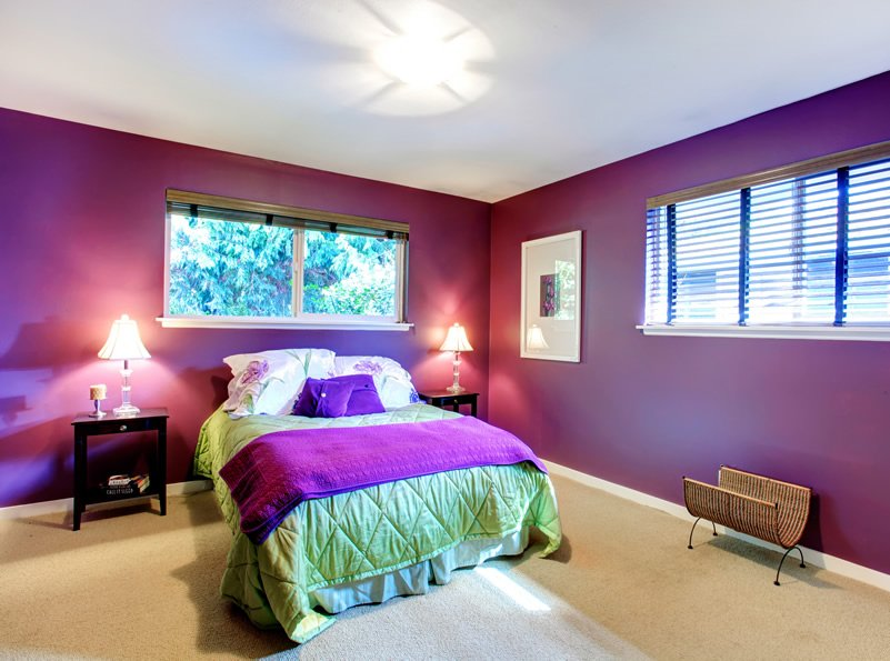 simple purple bedroom design