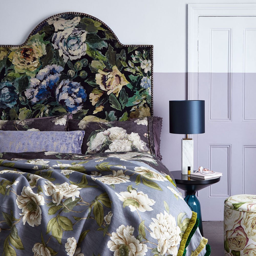 two tone purple bedroom