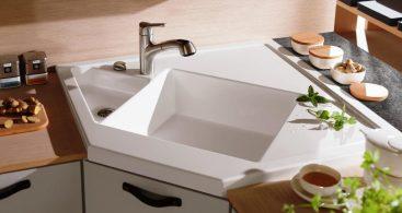 undermount white Corner Kitchen Sink picture