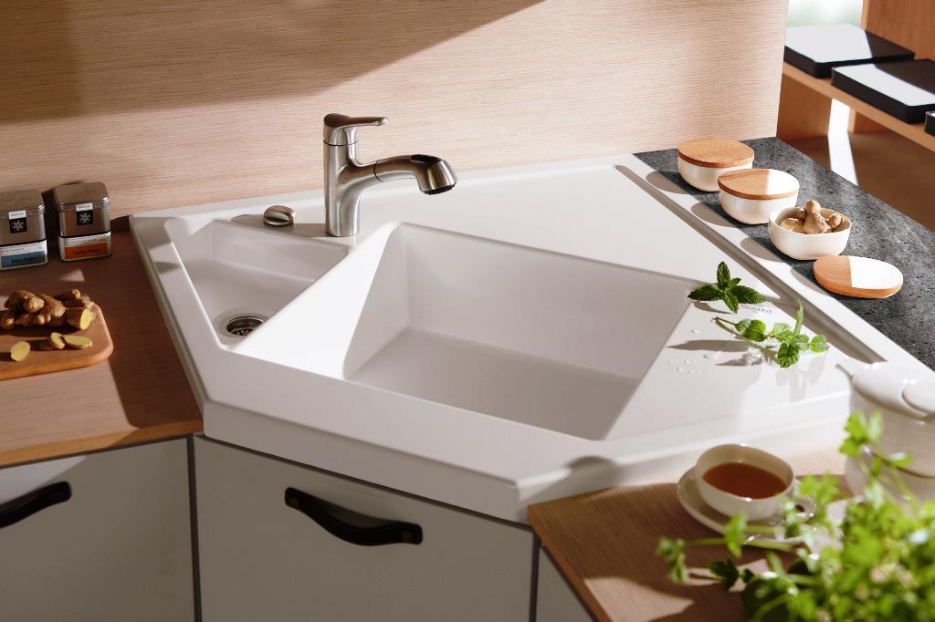 undermount white Corner Kitchen Sink picture