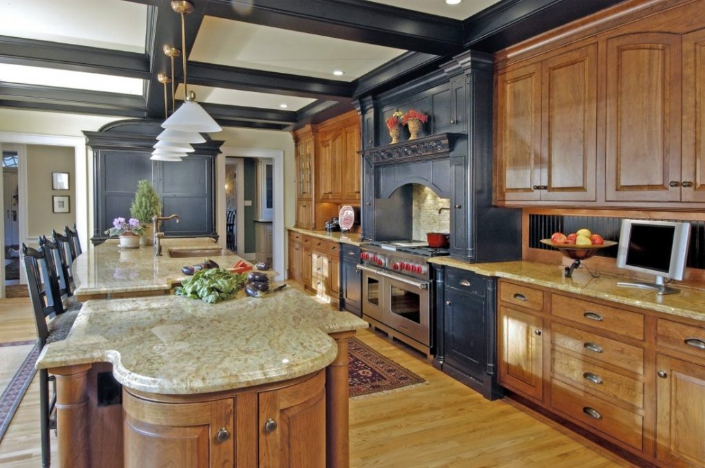 Luxurious One Wall Kitchen With Huge Kitchen Island