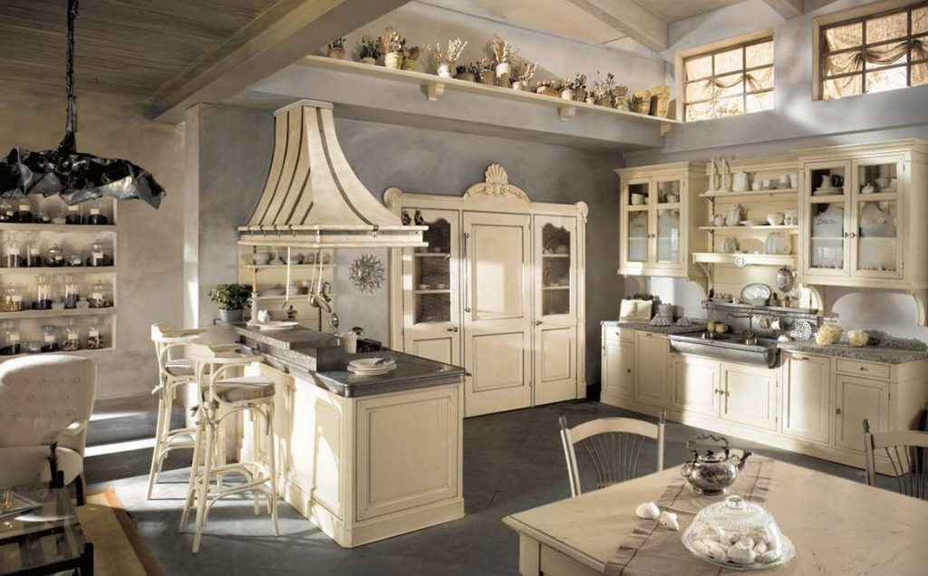 Nation Style Kitchen With White Cabinets Spanish Tile Floors