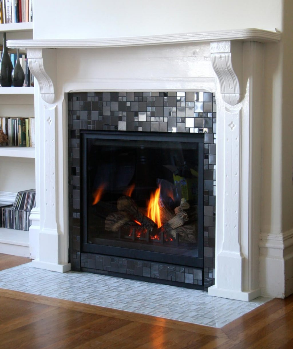 Good Fireplace Tile Ideas Part - 6: Glass Mosaic Fireplace Tiles