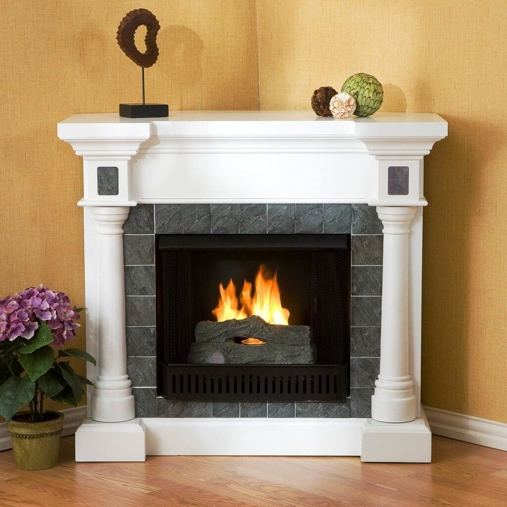 subway tile fireplace surround