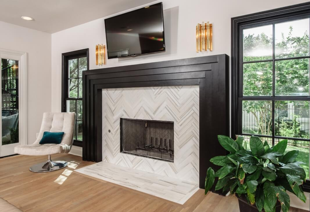 Herringbone Fireplace Tile Pattern Tiles Ideas