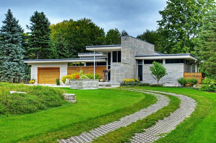 contemporary front driveways