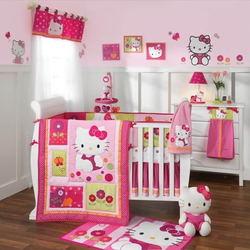25 adorable hello kitty bedroom decoration ideas for girls - Decoration hello kitty chambre bebe ...