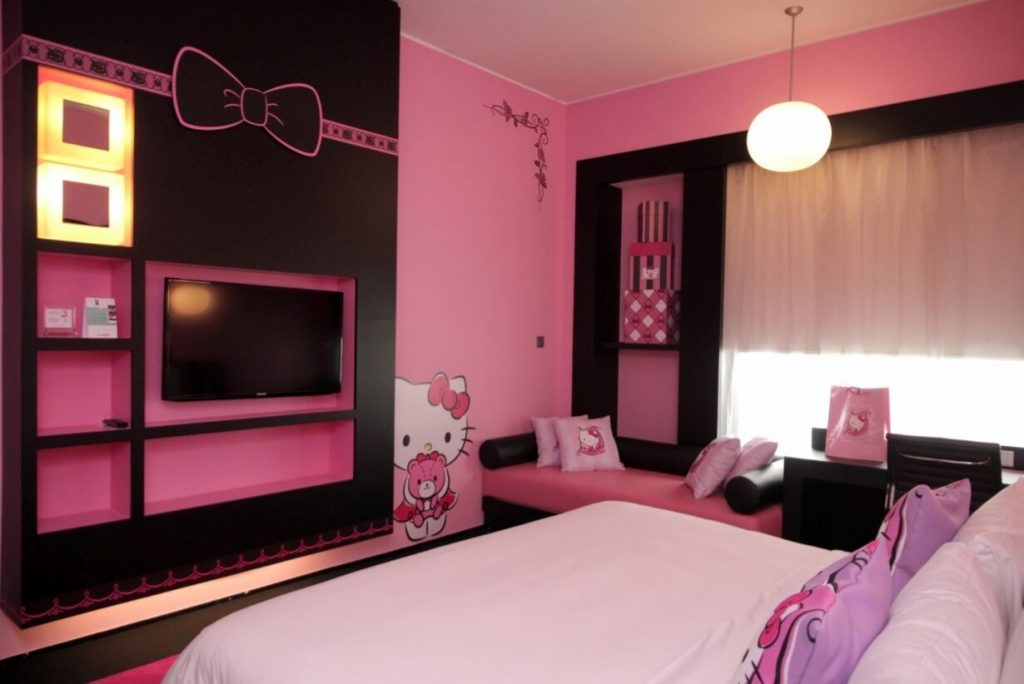 25 adorable hello kitty bedroom decoration ideas for girls for Suhagrat bed decoration design
