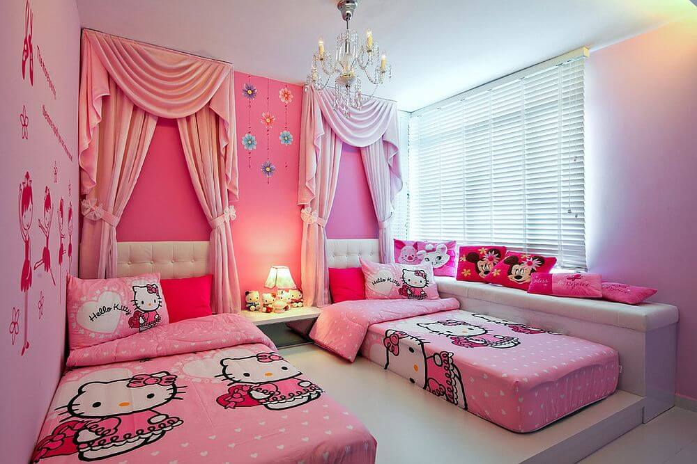 25 adorable hello kitty bedroom decoration ideas for girls. Black Bedroom Furniture Sets. Home Design Ideas