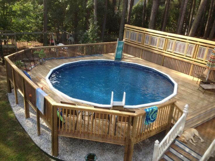 All you need to know about above ground pool with pictures for Multi level deck above ground pool