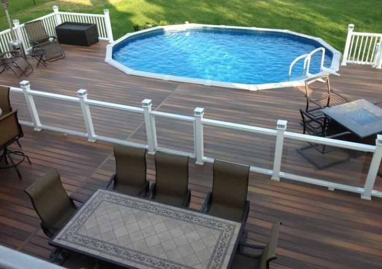 Above ground pool with deck benefits cost and ideas for Above ground pool decks nj