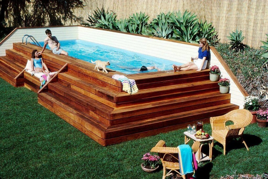 tiered deck of above ground pool - Above Ground Pool Deck