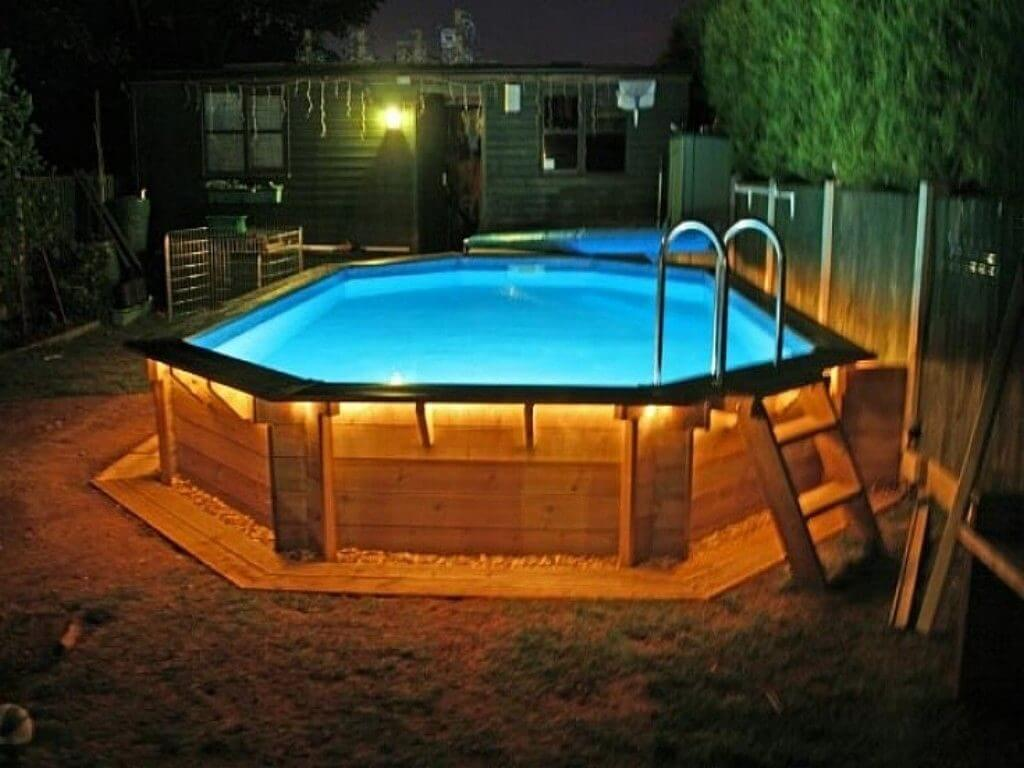 Above ground pool with deck benefits cost and ideas for Above ground pool setup ideas