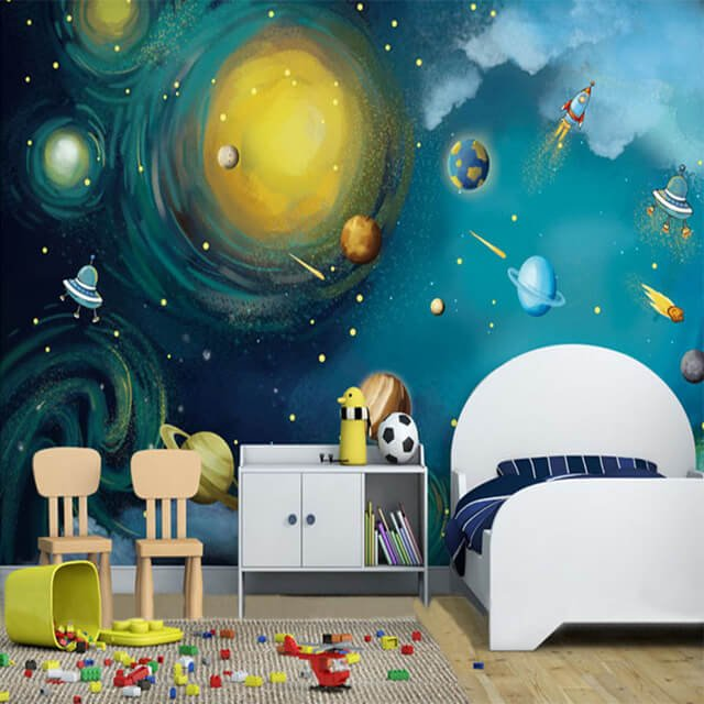 50 space themed bedroom ideas for kids and adults for Outer painting design