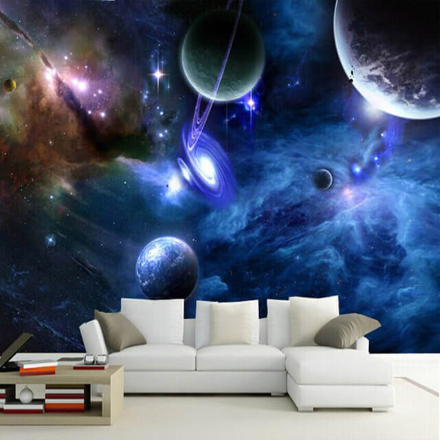 50 space themed bedroom ideas for kids and adults for Poster mural pas cher