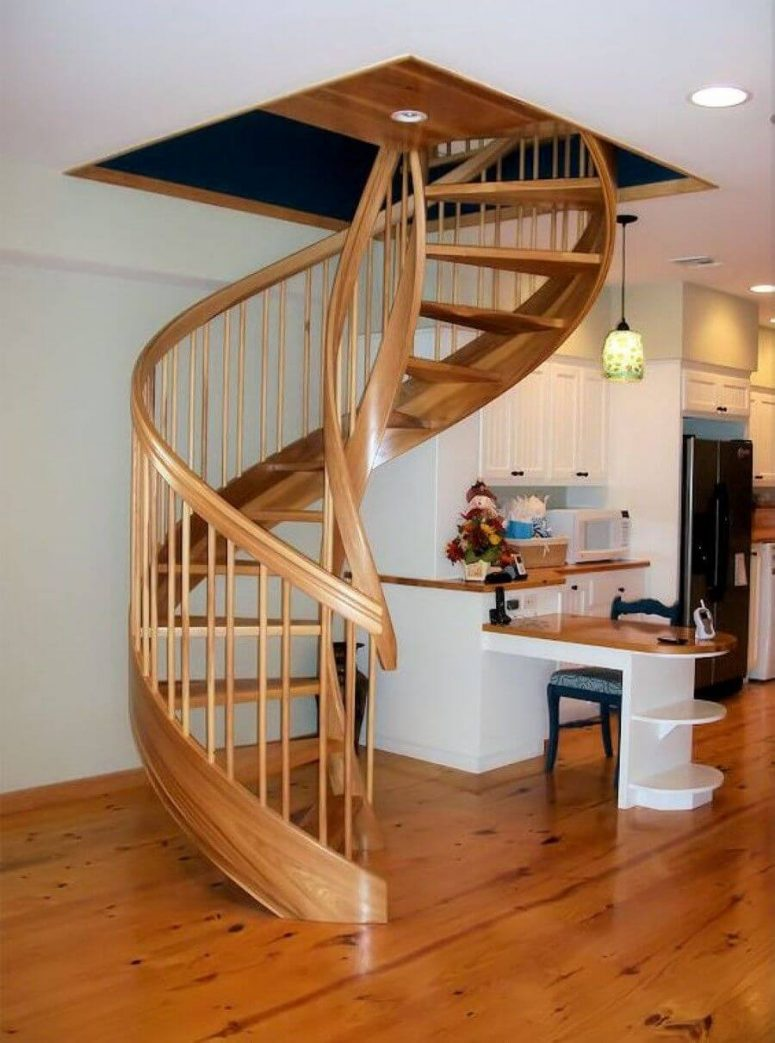 Beau Sleek Wooden Material. Spiral Staircase Plan