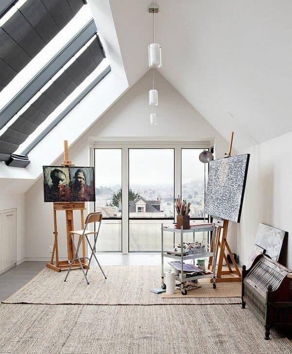 art space on attic room