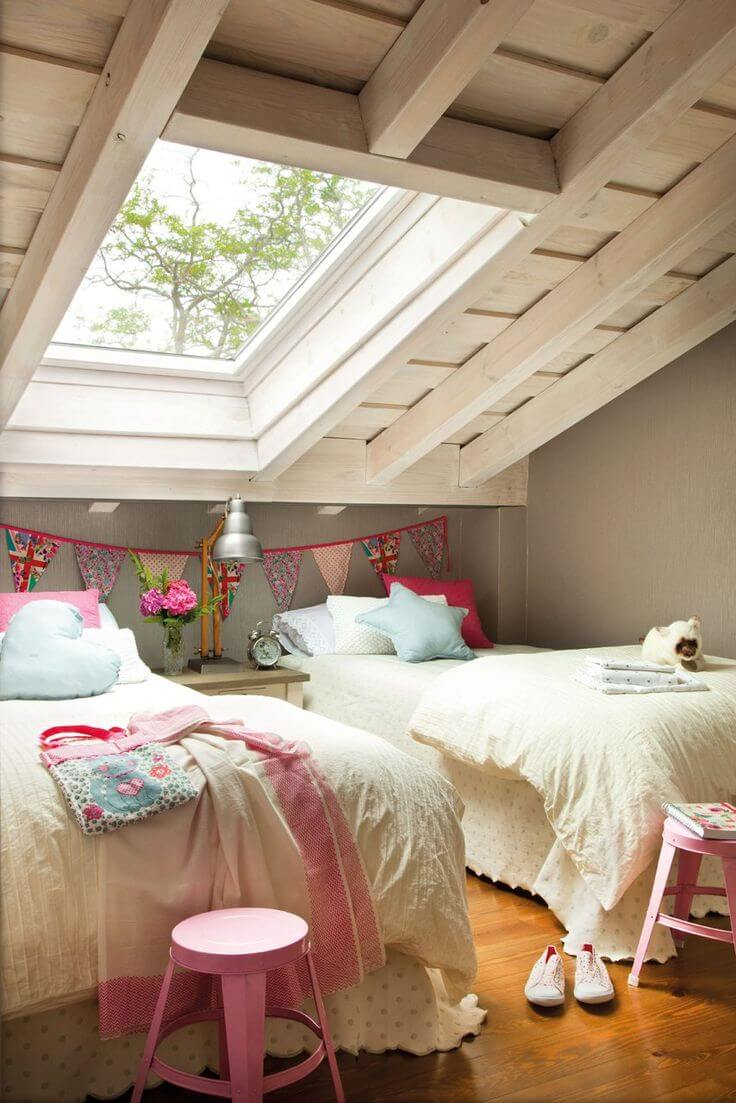 Attic Bedroom Ideas - Girls Attic Bedroom With View Window