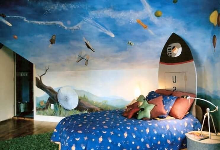 50 space themed bedroom ideas for kids and adults. Black Bedroom Furniture Sets. Home Design Ideas