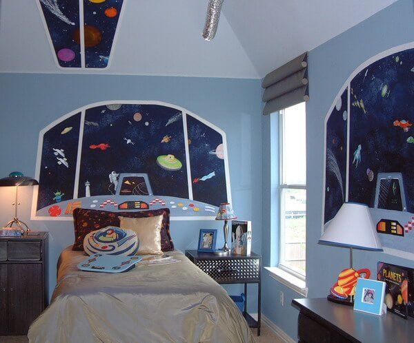 50 space themed bedroom ideas for kids and adults for Outer space decor ideas