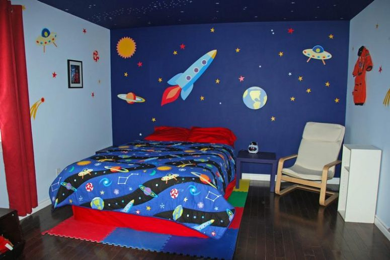 50 space themed bedroom ideas for kids and adults 23906 | super cool space design bedroom for boys 775x518