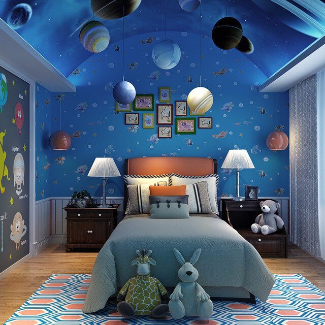 50 space themed bedroom ideas for kids and adults for Themed bedroom wallpaper
